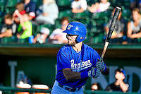Cody Thomas (46) of the Ogden Raptors at bat against the Missoula Osprey in Pioneer League action at Lindquist Field on July 14, 2016 in Ogden, Utah. Ogden defeated Missoula 10-4. (Stephen Smith/Four Seam Images)