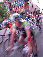 Cyclists swarm the streets circling Mears Park during the St. Paul Downtown Criterium as part of the Great River Energy Bicycle Festival '07, 6/20/07. Photo by Brad Stauffer