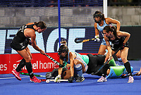 Tarryn Davey and Kelsey Smith attack the goal during the Pro League Hockey match between the Blacksticks women and Argentina, Nga Punawai, Christchurch, New Zealand, Friday 28 February 2020. Photo: Simon Watts/www.bwmedia.co.nz