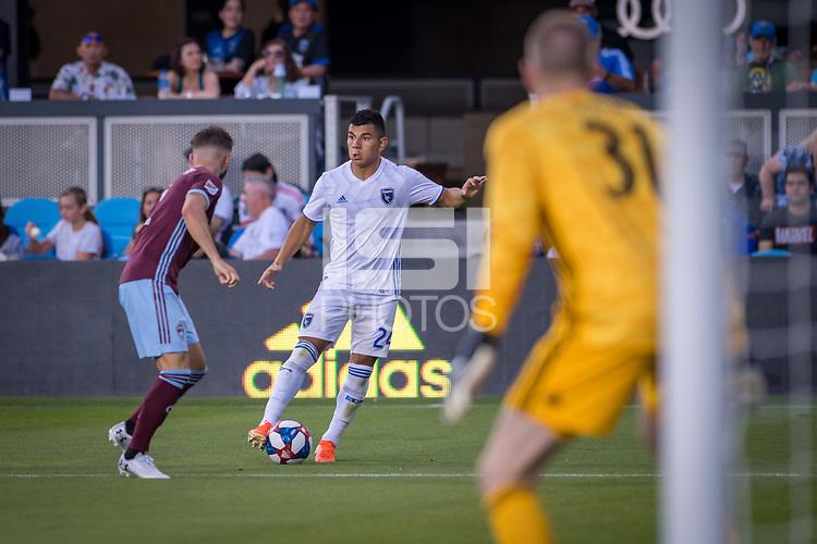 SAN JOSÉ CA - JULY 27: Nick Lima #24 during a Major League Soccer (MLS) match between the San Jose Earthquakes and the Colorado Rapids on July 27, 2019 at Avaya Stadium in San José, California.