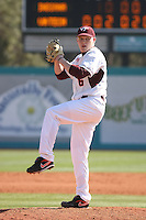 Jake Joyce #6 of the Virginia Tech Hokies pitching during a game against the University of Indiana Hoosiers  at Watson Stadium at Vrooman Field in Conway, South Carolina on February 18, 2011. Photo by Robert Gurganus/Four Seam Images