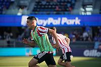 SAN JOSE, CA - JUNE 26: Cristian Espinoza #10 of the San Jose Earthquakes before a game between Los Angeles Galaxy and San Jose Earthquakes at PayPal Park on June 26, 2021 in San Jose, California.