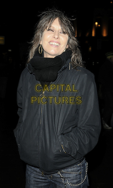 CHRISSIE HYNDE.The 'Heavy Rain' VIP screening, Electric Cinema, London, England..February 15th, 2010.half length black jacket scarf hands in pockets .CAP/CAN.©Can Nguyen/Capital Pictures.