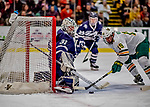 9 February 2019: University of New Hampshire Wildcat Goaltender Mike Robinson, a Sophomore from Bedford, NH, makes a second period save against University of Vermont Catamount Forward Johnny DeRoche, a Freshman from Lynnfield, MA, at Gutterson Fieldhouse in Burlington, Vermont. The Wildcats fell to the Catamounts 4-1 splitting their 2-game Hockey East weekend series. Mandatory Credit: Ed Wolfstein Photo *** RAW (NEF) Image File Available ***
