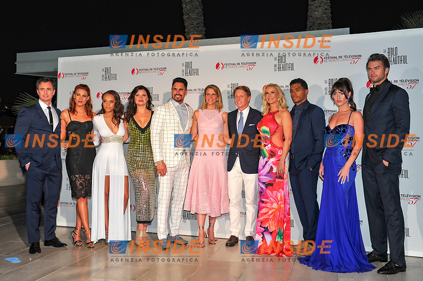 Darin Brooks - Courtney Hope - Reign Edwards - Heather Tom - Don Diamont - Head Writer and Executive Producer Bradley Bell and wife Ambassador Colleen Bell - Katherine Kelly Lang - Rome Flynn - Jacqueline MacInnes Wood - Pierson Fode (The Bold and the Beautiful)<br /> Monaco - 20/06/2017<br /> 57 festival TV Monte Carlo <br /> Foto Norbert Scanella / Panoramic / Insidefoto