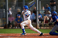 Pitt Panthers Riley Wash (33) bats during the teams opening game of the season against the Indiana State Sycamores on February 19, 2021 at North Charlotte Regional Park in Port Charlotte, Florida.  (Mike Janes/Four Seam Images)