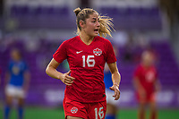 ORLANDO, FL - FEBRUARY 24: Janine Beckie #16 of the CANWNT runs toward the ball during a game between Brazil and Canada at Exploria Stadium on February 24, 2021 in Orlando, Florida.