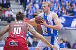 San Pablo Burgos Javi Vega and Gipuzkoa Basket Daniel Clark during Liga Endesa match between San Pablo Burgos and Gipuzkoa Basket at Coliseum Burgos in Burgos, Spain. December 30, 2017. (ALTERPHOTOS/Borja B.Hojas)