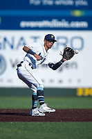Everett AquaSox second baseman Cesar Izturis Jr. (40) waits to receive a throw during a Northwest League game against the Tri-City Dust Devils at Everett Memorial Stadium on September 3, 2018 in Everett, Washington. The Everett AquaSox defeated the Tri-City Dust Devils by a score of 8-3. (Zachary Lucy/Four Seam Images)