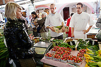 Chefs buy fresh produce at the Marché Provençal, Antibes, France, 26 April 2012