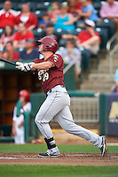 Frisco RoughRiders first baseman Trever Adams (29) at bat during a game against the Springfield Cardinals on June 3, 2015 at Hammons Field in Springfield, Missouri.  Springfield defeated Frisco 7-2.  (Mike Janes/Four Seam Images)