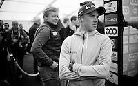 Simon Gerrans (AUS/Orica-GreenEDGE) waiting for the pre-race team presentation (the day before the race)<br /> <br /> 102nd Liège-Bastogne-Liège 2016