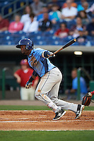 Charlotte Stone Crabs third baseman Cristian Toribio (16) at bat during a game against the Clearwater Threshers on April 12, 2016 at Bright House Field in Clearwater, Florida.  Charlotte defeated Clearwater 2-1.  (Mike Janes/Four Seam Images)