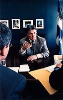 Le Ministre de l'environnement Paul Begin en entrevue a son bureau de Quebec, 1999 <br /> <br /> PHOTO : Agence Quebec Presse - stringer