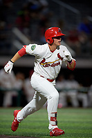 Johnson City Cardinals third baseman Nolan Gorman (4) runs to first base during a game against the Danville Braves on July 28, 2018 at TVA Credit Union Ballpark in Johnson City, Tennessee.  Danville defeated Johnson City 7-4.  (Mike Janes/Four Seam Images)