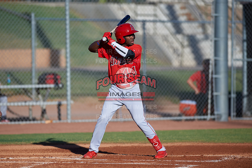 AZL Angels Julio De La Cruz (44) at bat during an Arizona League game against the AZL Giants Black at the Giants Baseball Complex on June 21, 2019 in Scottsdale, Arizona. AZL Angels defeated AZL Giants Black 6-3. (Zachary Lucy/Four Seam Images)