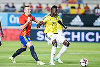Davison Sanchez of Colombia holds off pressure from  Iago Aspas of Spain during the friendly match between Spain and Colombia at Nueva Condomina Stadium in Murcia, jun 07, 2017. Spain. (ALTERPHOTOS/Rodrigo Jimenez) (NortePhoto.com) (NortePhoto.com)