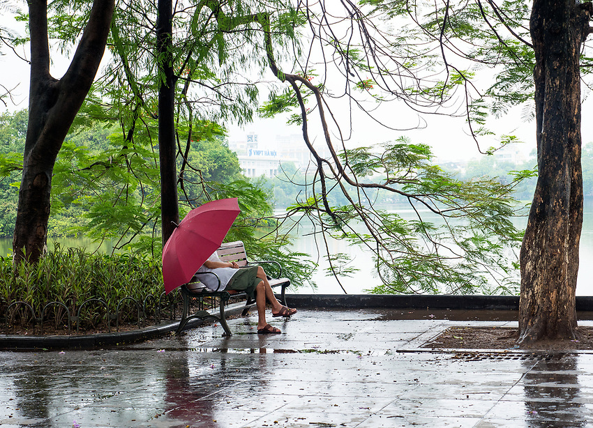 A rainy day in Hanoi by the Lake, Vietnam