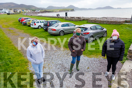 Members of Waterville SOS (Save Our Seafront) group at the location of the councils proposed 10 car space extension, pictured here l-r; Alex Clifford, Dee Fitzgerald & Tanya O'Sullivan.