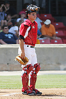 Devin Mesoraco #36 of the Carolina Mudcats catching during a game against the West Tenn Diamond Jaxx on May 30, 2010 in Zebulon, NC.