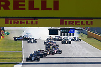 13th September 2020; Mugello race track, Scarperia e San Piero, Tuscany, Italy ; Formula 1 Grand Prix of Tuscany, Race Day;  Crash at the restart between 99 Antonio Giovinazzi ITA, Alfa Romeo Racing ORLEN, 20 Kevin Magnussen DEN, Haas F1 Team, 6 Nicholas Latifi CAN, Williams Racing, 55 Carlos Sainz ESP, McLaren F1 Team