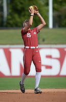 Arkansas third baseman Spencer Prigge makes a catch Saturday, Oct. 9, 2021, during play against Butler Community College at Bogle Park in Fayetteville. Visit nwaonline.com/211010Daily/ for today's photo gallery.<br /> (NWA Democrat-Gazette/Andy Shupe)