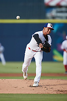 Kannapolis Cannon Ballers starting pitcher Jesus Valles (14) in action against the Charleston RiverDogs at Atrium Health Ballpark on June 29, 2021 in Kannapolis, North Carolina. (Brian Westerholt/Four Seam Images)