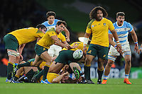 Nick Phipps of Australia passes during the Semi Final of the Rugby World Cup 2015 between Argentina and Australia - 25/10/2015 - Twickenham Stadium, London<br /> Mandatory Credit: Rob Munro/Stewart Communications