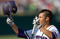 TCU 2B Jerome Pena in Game 11 of the NCAA Division One Men's College World Series on June 25th, 2010 at Johnny Rosenblatt Stadium in Omaha, Nebraska.  (Photo by Andrew Woolley / Four Seam Images)