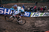 defending World Champion Wout Van Aert (BEL/Crelan-Charles) having a big margin as race leader in the last lap<br /> <br /> Elite Men's Race<br /> 2018 CX World Championships<br /> Valkenburg - The Netherlands