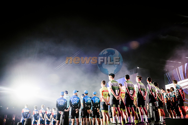 Team presentation before the start of the Saudi Tour 2020 held in Riyadh, Saudi Arabia. 3rd February 2020. <br /> Picture: ASO/Pauline Ballet | Cyclefile<br /> All photos usage must carry mandatory copyright credit (© Cyclefile | ASO/Pauline Ballet)