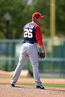 Washington Nationals pitcher Jake Walsh (26) during a minor league spring training game against the Atlanta Braves on March 26, 2014 at Wide World of Sports in Orlando, Florida.  (Mike Janes/Four Seam Images)