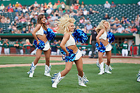 The Indianapolis Colts cheerleaders perform at a game between the Fort Wayne TinCaps and the West Michigan Whitecaps on May 17, 2018 at Parkview Field in Fort Wayne, Indiana.  Fort Wayne defeated West Michigan 7-3.  (Mike Janes/Four Seam Images)