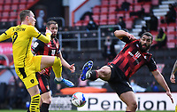 13th March 2021; Vitality Stadium, Bournemouth, Dorset, England; English Football League Championship Football, Bournemouth Athletic versus Barnsley; Cameron Carter-Vickers of Bournemouth blocks the shot from Cauley Woodrow of Barnsley