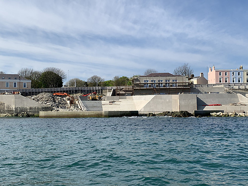 Work continues on the refurbishment of Dun Laoghaire Baths at the back of Dun Laoghaire's East Pier