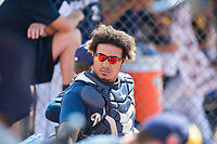 Milwaukee Brewers catcher Caleb Marquez (35) during an Instructional League game against the Los Angeles Dodgers at Maryvale Baseball Park on September 24, 2018 in Phoenix, Arizona. (Zachary Lucy/Four Seam Images)