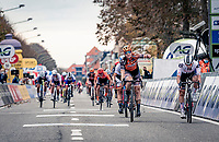 bunch sprint finish where Jolien Dhoore (BEL/Boels-Dolmans) crosses the finishline first ahead of Lorena Wiebes (NED/Sunweb), but where she later will be disqualified for irregular sprinting.<br /> As such Wiebes wins the race...<br /> <br /> AG Driedaagse Brugge-De Panne 2020 (1.WWT)<br /> 1 day race from Brugge to De Panne (156km) <br /> <br /> ©kramon