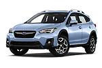 Stock pictures of low aggressive front three quarter view of a 2018 Subaru XV Premium 5 Door SUV