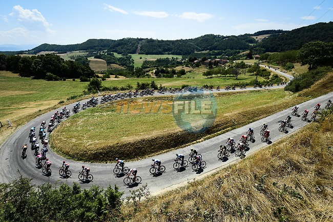 The peloton descends during Stage 2 of Criterium du Dauphine 2020, running 135km from Vienne to Col de Porte, France. 13th August 2020.<br /> Picture: ASO/Alex Broadway | Cyclefile<br /> All photos usage must carry mandatory copyright credit (© Cyclefile | ASO/Alex Broadway)