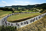 The peloton descends during Stage 2 of Criterium du Dauphine 2020, running 135km from Vienne to Col de Porte, France. 13th August 2020.<br /> Picture: ASO/Alex Broadway   Cyclefile<br /> All photos usage must carry mandatory copyright credit (© Cyclefile   ASO/Alex Broadway)
