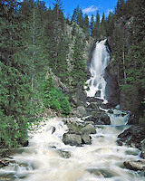 Fish Creek Falls and cascade in Routt National Forest near Steamboat Springs, Colorado.