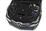 High angle engine detail of a  2014 Mercedes E Class 350 Convertible