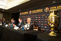 New York, NY - Friday June 24, 2016: CONCACAF president Victor Montagliani, CONMEBOL president Alejandro Dominguez, Copa America Local Organizing Committee chairman and U.S. Soccer President Sunil Gulati during a press conference prior to the final of the Copa America Centenario at The Westin New York at Times Square.<br /> <br /> New York, NY - Friday June 24, 2016: CONCACAF president Victor Montagliani, CONMEBOL president Alejandro Dominguez, Copa America Local Organizing Committee chairman and U.S. Soccer President Sunil Gulati during a press conference prior to the final of the Copa America Centenario at The Westin New York at Times Square.<br /> <br /> Photo during American Cup USA 2016 Press Conference The Westin New York at Times Square --- Foto durante la Conferencia de Prensa previo a la Gran Final de la Copa America Centenario USA 2016, enla foto: Alejandro Dominguez, Presidente CONMEBOL, Victor Montagliani, Presidente CONCACAF, Sunil Gulati<br /> <br /> ---24/06/2016/MEXSPORT/ Jorge Martinez.