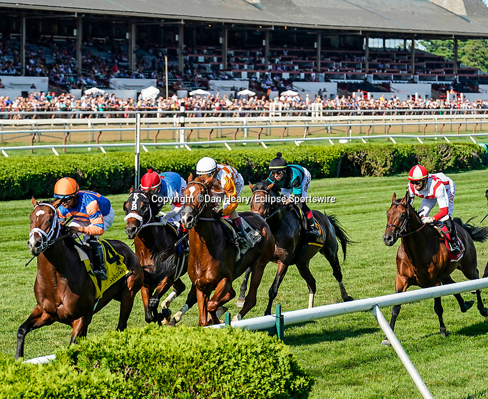 September 04, 2021: Public Sector (GB) #1, ridden by jockey Irad Ortiz Jr. during the running of the Grade 3 Saranac Stakes on the turf at Saratoga Race Course in Saratoga Springs, N.Y. on September 4th, 2021. Dan Heary/Eclipse Sportswire/CSM