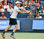 August 18,2018:   David Goffin (ESP) retires to lose to Roger Federer (SUI) 7-6, 1-1, at the Western & Southern Open being played at Lindner Family Tennis Center in Mason, Ohio.  ©Leslie Billman/Tennisclix/CSM
