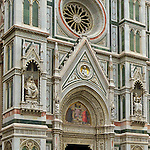 The Duomo in Florence, Italy; left entrance; amazing detail