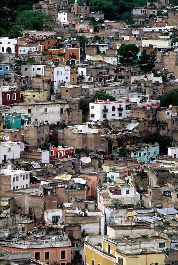 Aerial view of Colorful Mexican cityscape, #5838. Guanajuato, Mexico.