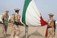 """- raises flag ceremony in the Italian military base  """"Camp Mittica""""....- cerimonia dell'alza bandiera nella base militare italiana """"Camp Mittica"""""""