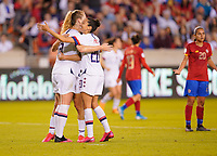 HOUSTON, TX - FEBRUARY 03: Christen Press #20 and Samantha Mewis #3 of the United States celebrate a goal during a game between Costa Rica and USWNT at BBVA Stadium on February 03, 2020 in Houston, Texas.