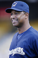 Milwaukee Brewers Manager Jerry Royster before a 2002 MLB season game against the Los Angeles Dodgers at Dodger Stadium, in Los Angeles, California. (Larry Goren/Four Seam Images)